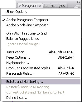 Bulleted and Numbered Lists in InDesign