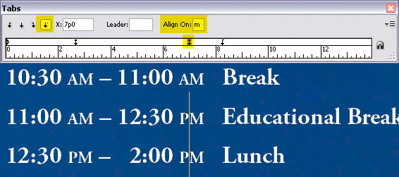 InDesign Tabs - Align On Example for Schedule