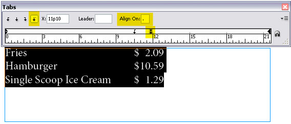 InDesign Tabs - Align on Example for Forms