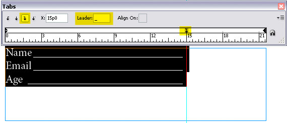 InDesign Tabs - Leader Example for Forms