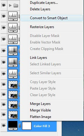 Convert layers to smart objects